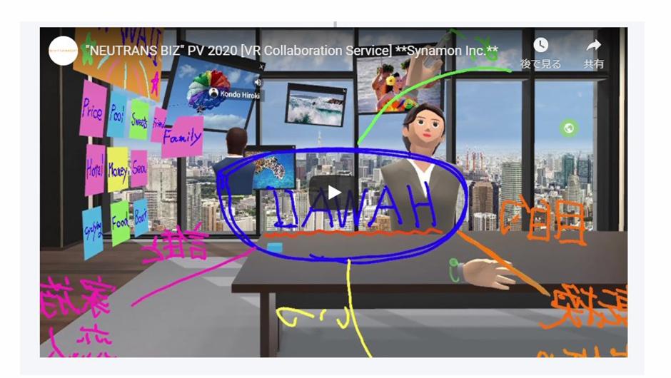 「NEUTRANS BIZ」で付箋を使ったり空間にメモをしている画像
